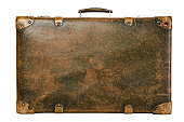 old suitcase over white, front view