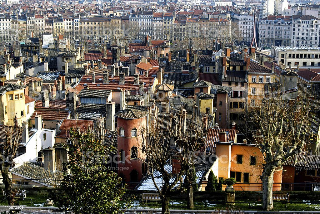 Old Lyon and Pink Tower stock photo