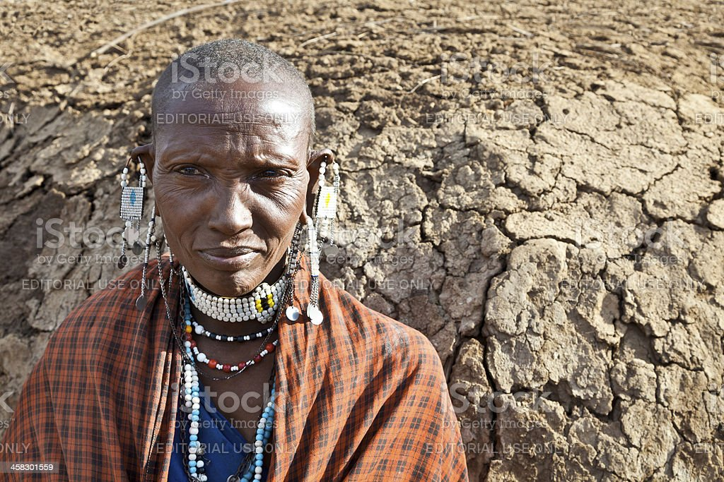 Old maasai woman royalty-free stock photo