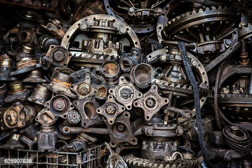 istock Old machine parts 625907638