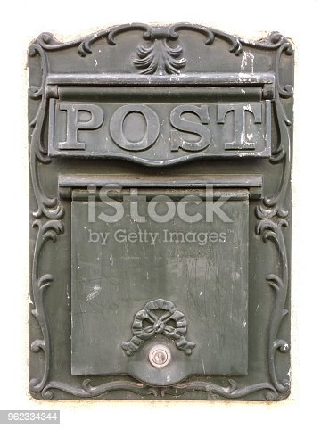 istock Old Mailbox made of metal with MAIL caption in a vintage look 962334344