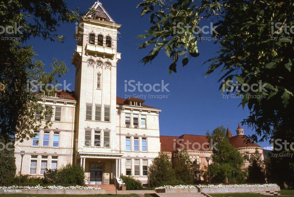 Old Main academic building on campus of Utah State University Logan Utah royalty-free stock photo