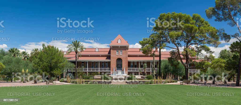 Old Main building at the University of Arizona Tucson, Arizona, USA - August 9, 2017: Exterior of the Old Main building on the campus of the University of Arizona Architecture Stock Photo