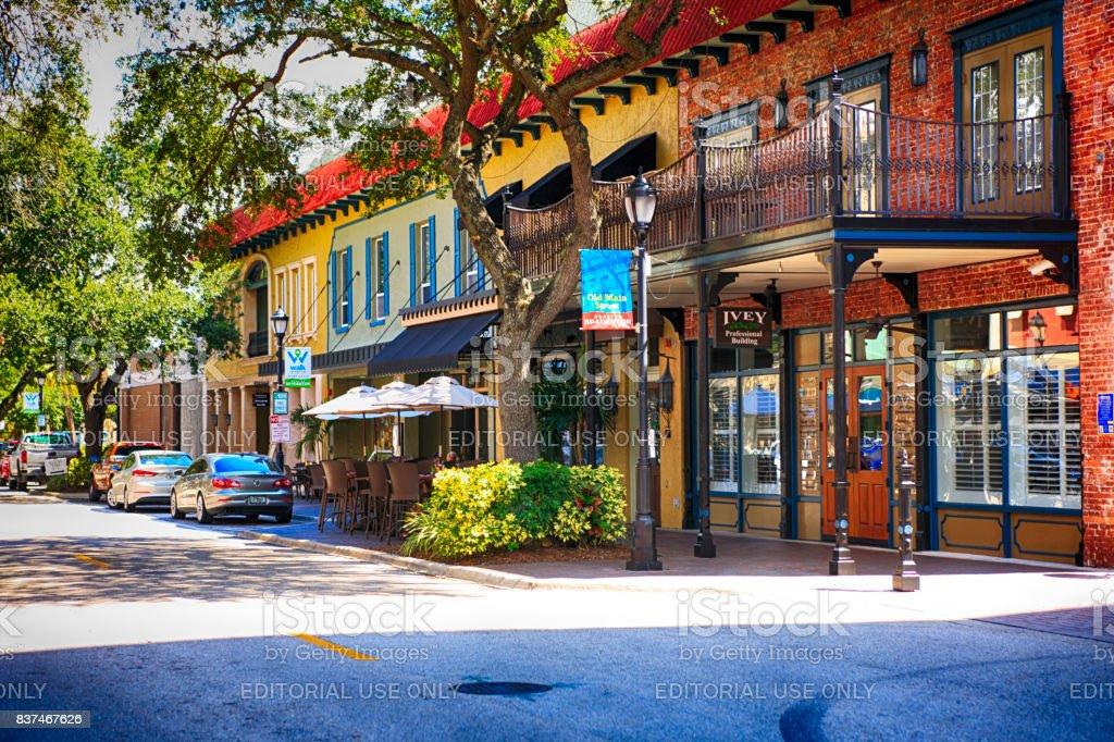 Old Main Street in downtown Bradenton, FL USA stock photo