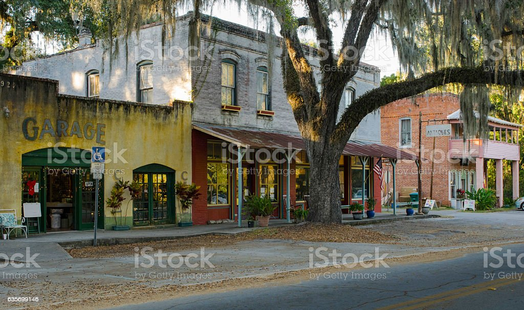 Old Main Street in Micanopy, Florida royalty-free stock photo