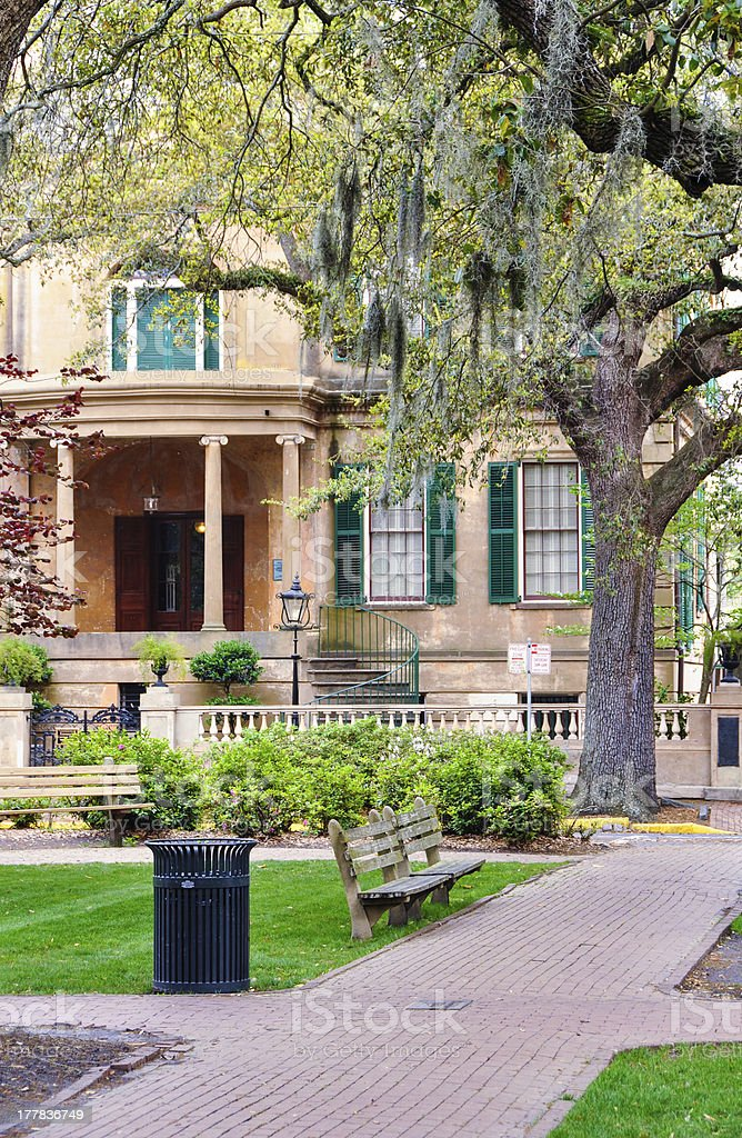 Old Majestic Home in Savannah stock photo