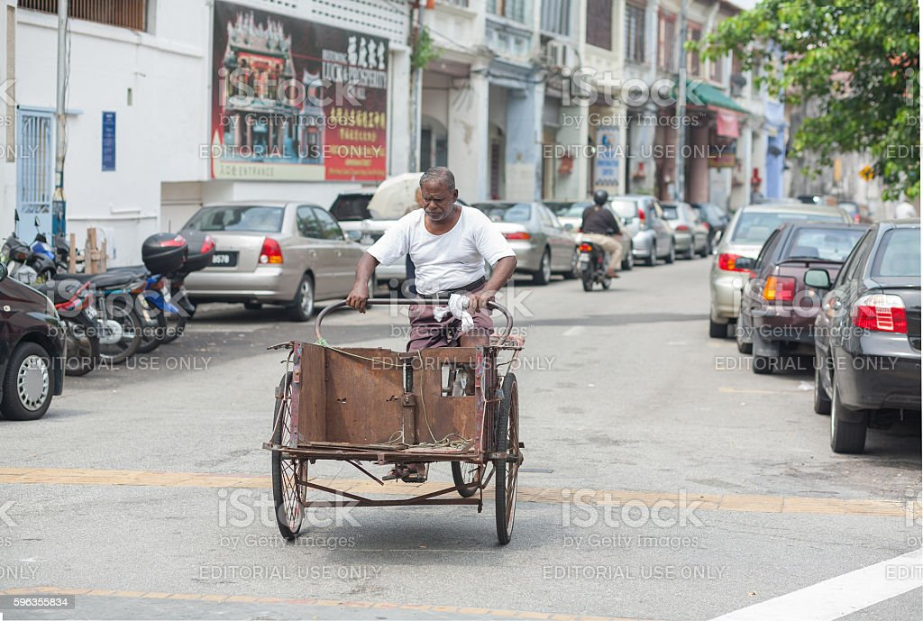 Old man and bicycle royalty-free stock photo