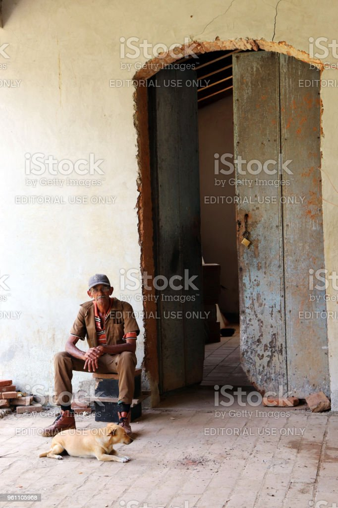 Old man and Dog stock photo