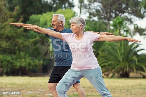 Senior couple doing sport and physical exercises outdoor. Active senior man and elderly woman doing workout at park. Aged couple doing their stretches in the park.