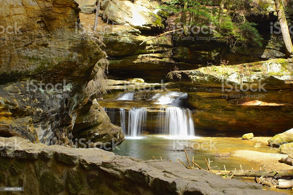 Old Man Cave Waterfall stock photo