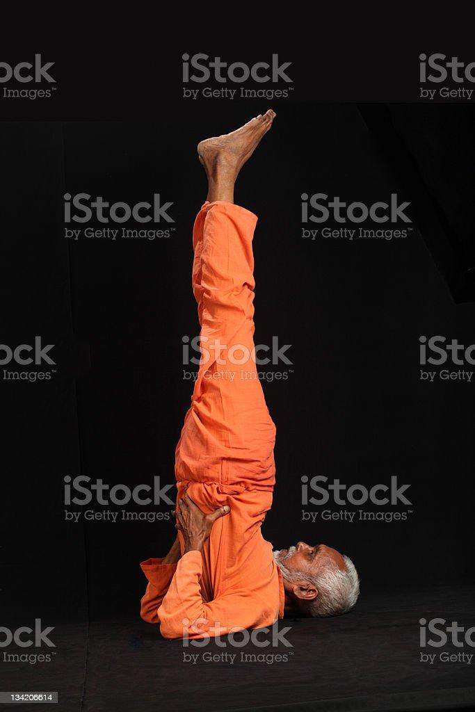 old man doing yoga royalty-free stock photo