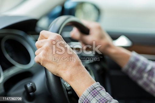 istock Old man driving a car 1147260709