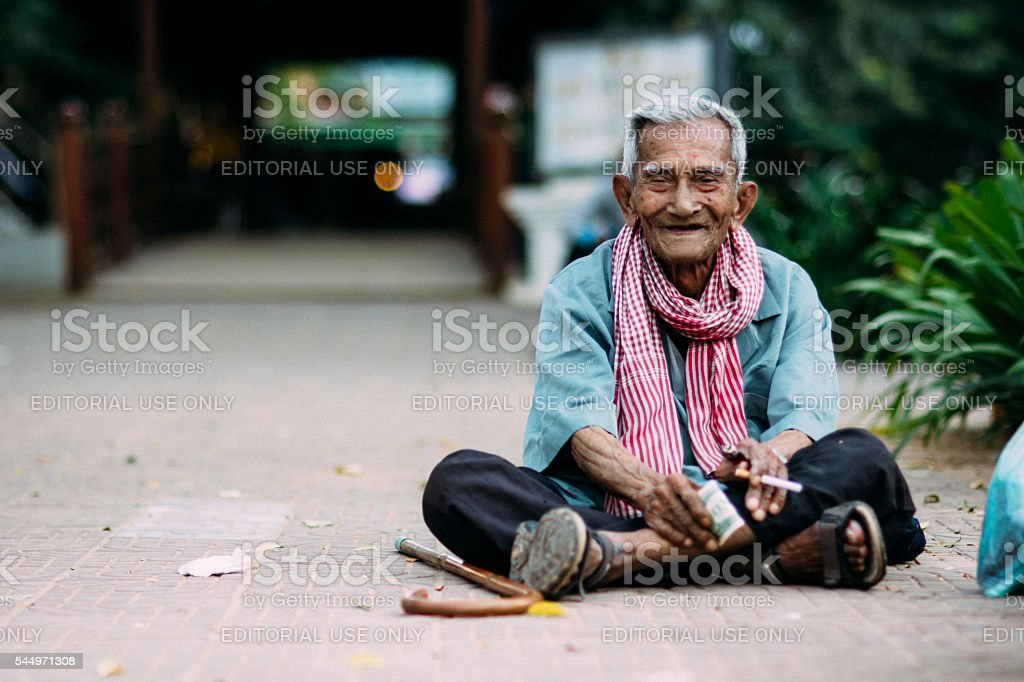 Old man from Cambodia stock photo