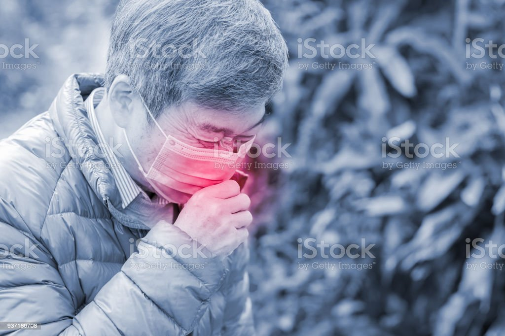 old man get hay fever stock photo