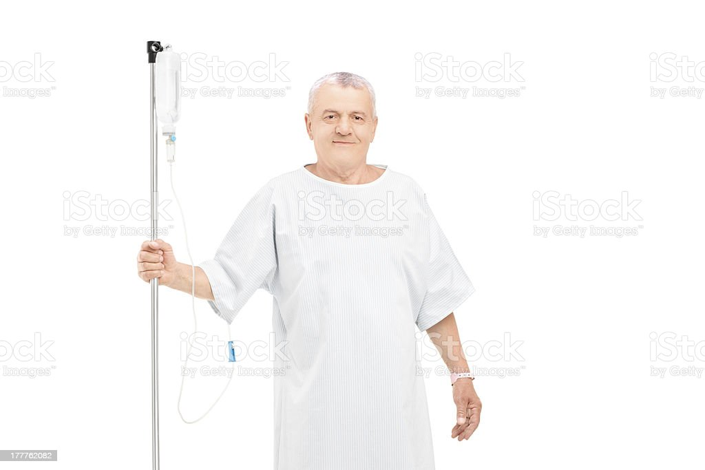 Old man getting i.v. infusion stock photo