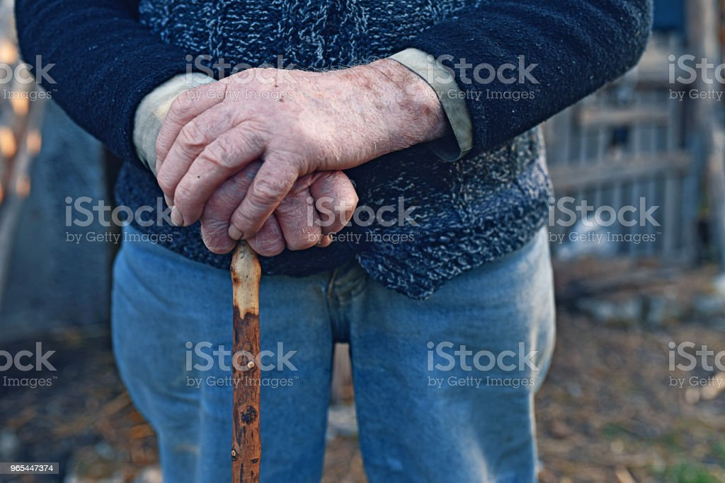 Old man hands with walking cane zbiór zdjęć royalty-free