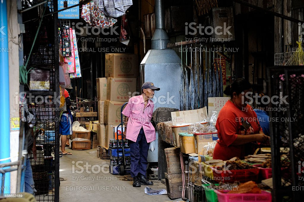 Old Man in Bangkok's Chinatown royalty-free stock photo