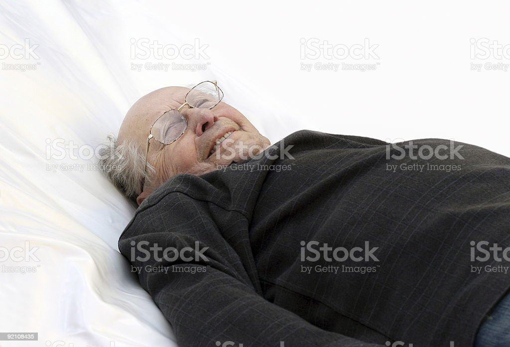Old man in bed royalty-free stock photo
