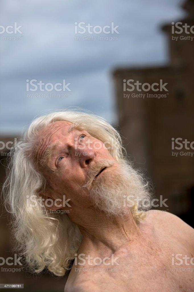 Old man looking to sky royalty-free stock photo