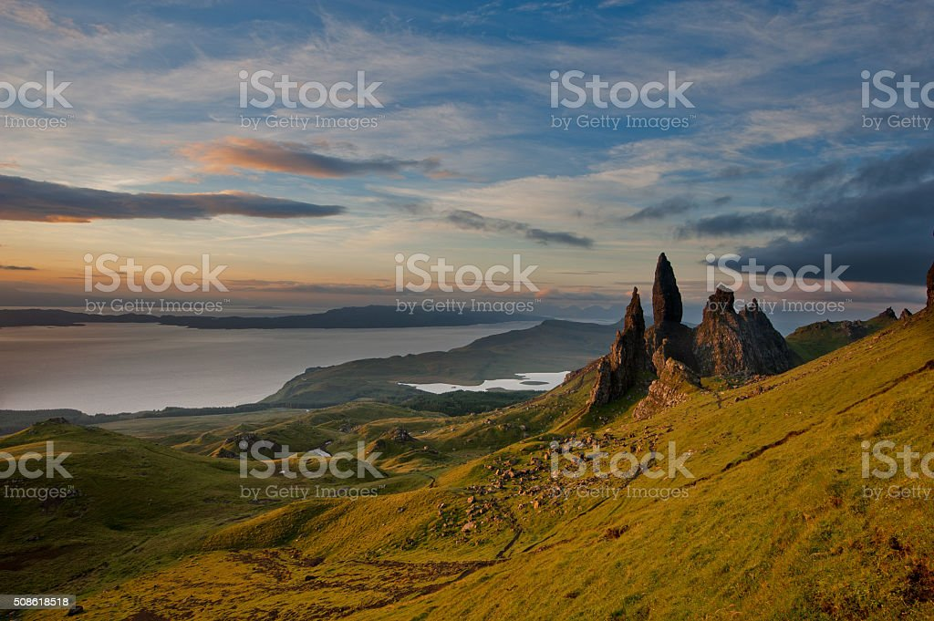 Old Man of storr at first light stock photo