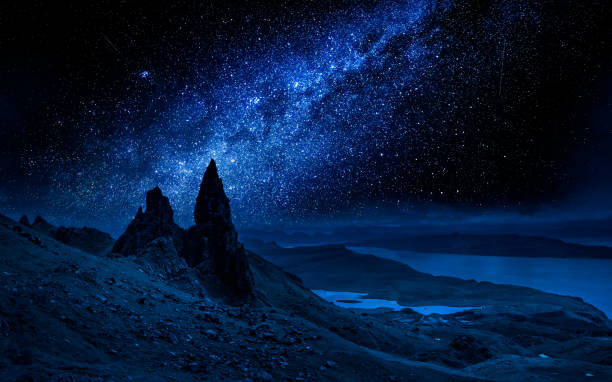 Old Man of Storr at night with milky way, Scotland stock photo