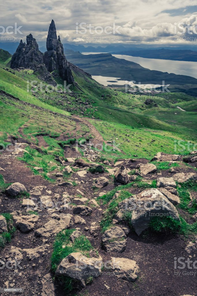Old Man of Storr in Isle of Skye at summer stock photo