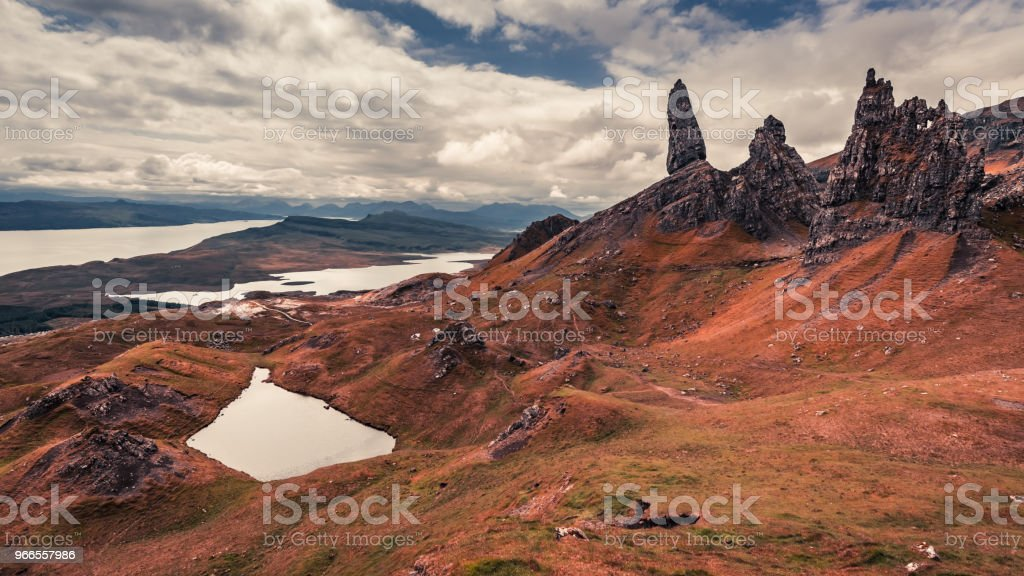 Old Man of Storr in rusty colors, Skye, Scotland stock photo