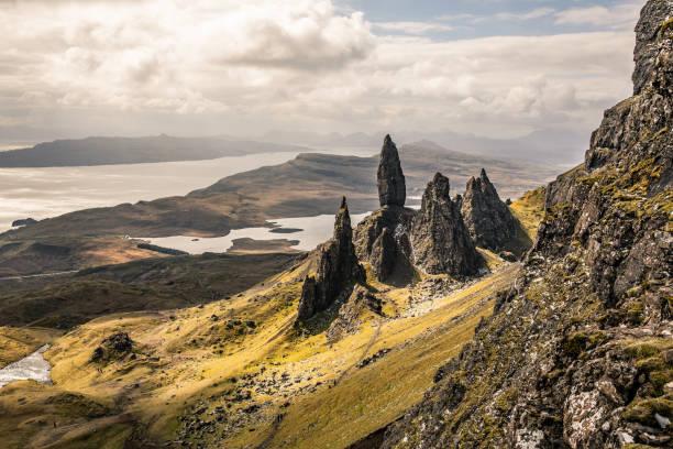 Old Man of Storr in Scotland, Isle of Skye stock photo