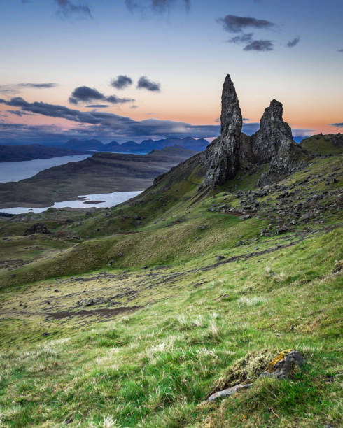 Old man of Storr photographed at blue hour.Famous landmark on Isle of Skye, Scotland. stock photo