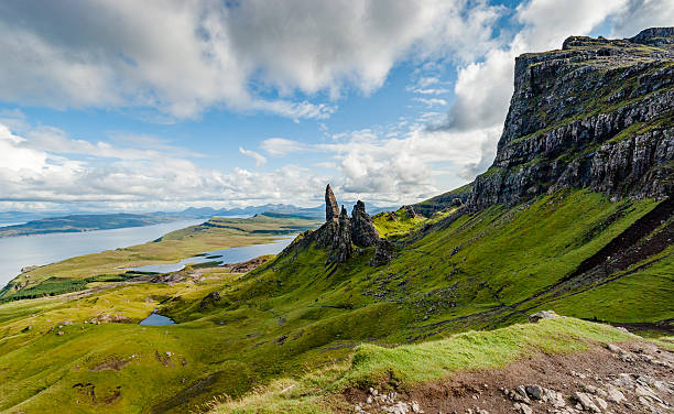 Old Man of Storr Looking towards the Old Man of Storr and Storr Lochs on the Isle of Skye isle of skye stock pictures, royalty-free photos & images