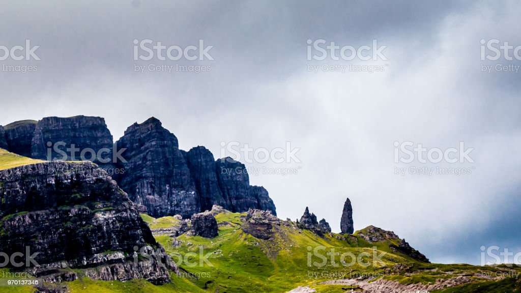 Old man of Storr, Scottish highlands in a cloudy morning - Scotland, UK stock photo