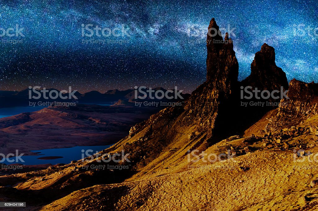 Old Man of Storr, Skye, Scotland, night stock photo