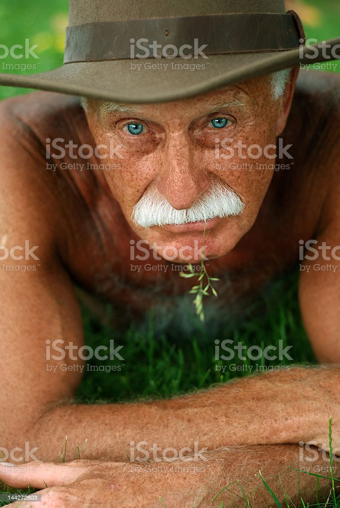 Old man on holidays royalty-free stock photo