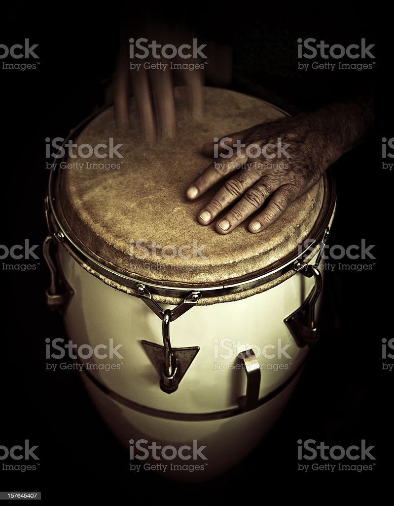 old man playing congas stock photo