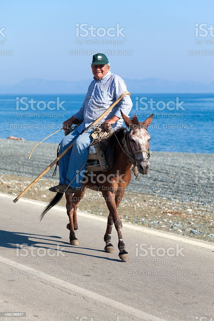 Old man rides a mule royalty-free stock photo