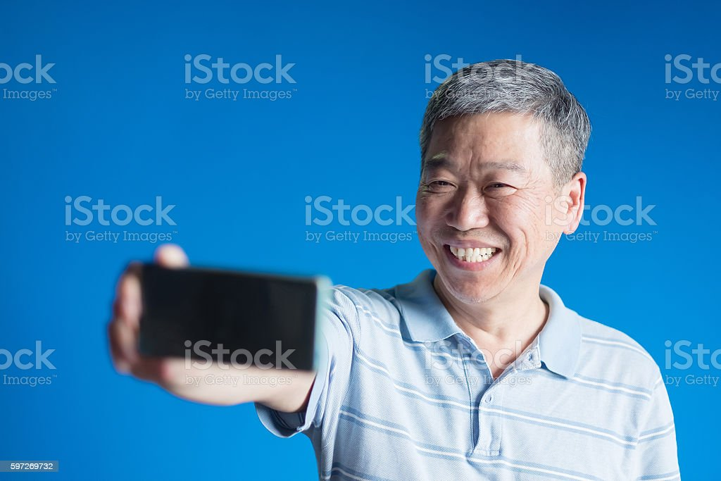 old man selfie happily Lizenzfreies stock-foto