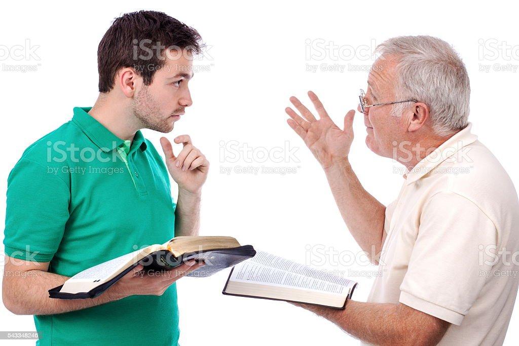 Old man sharing Gospel stock photo