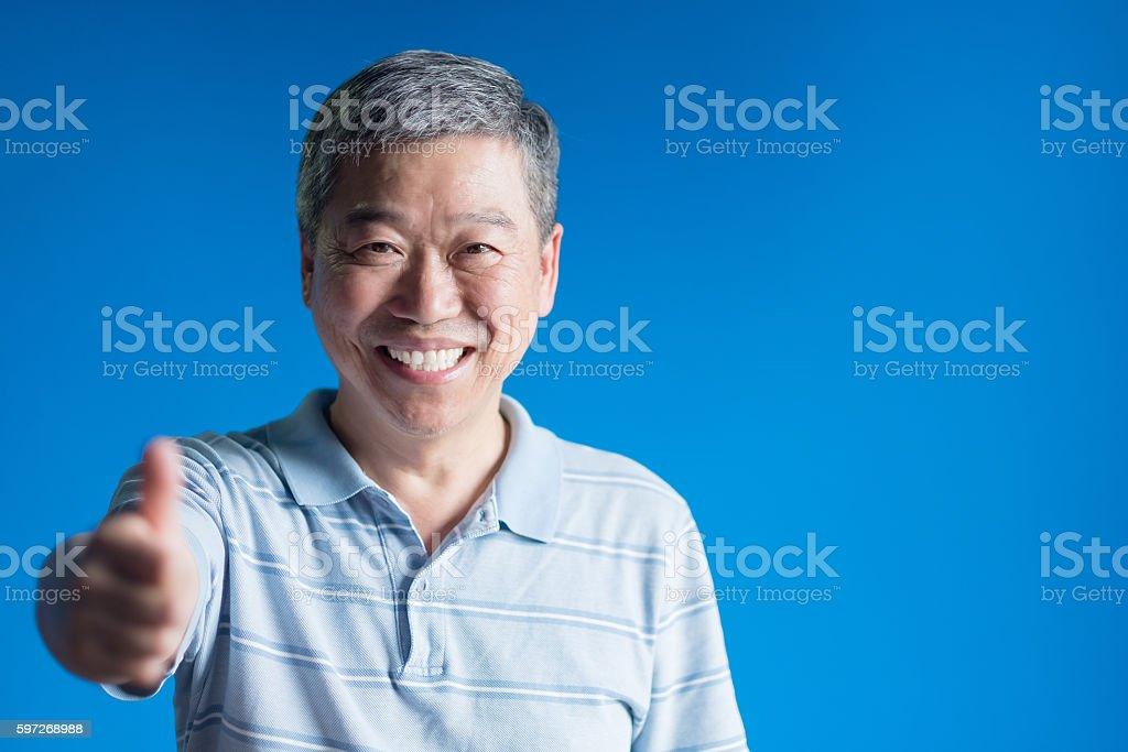 old man smile happily Lizenzfreies stock-foto