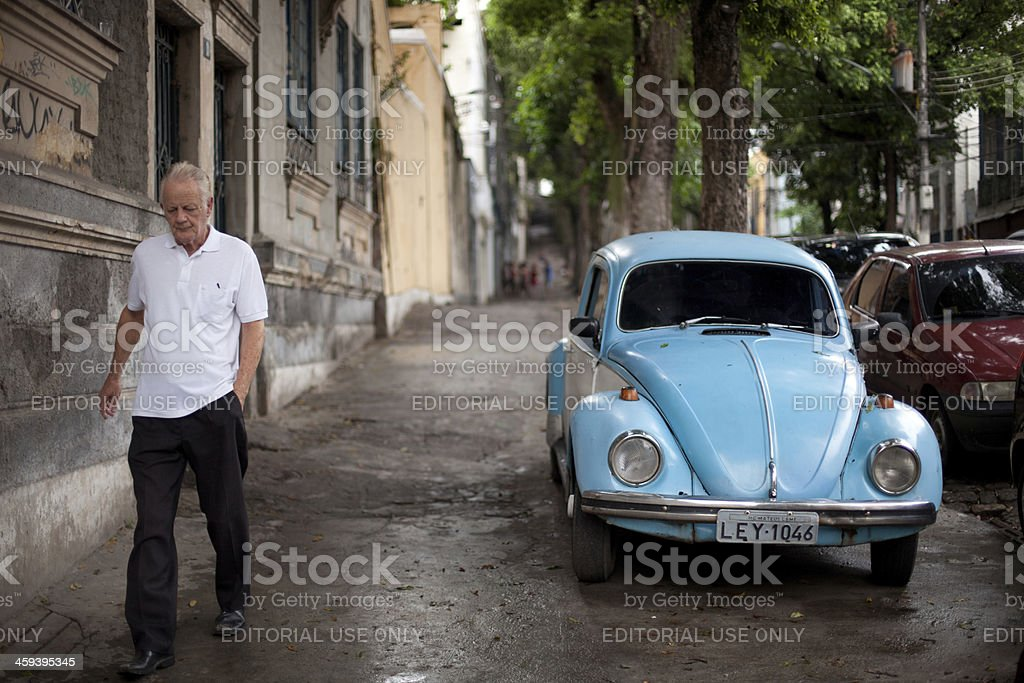 Old man walking the streets of Rio royalty-free stock photo