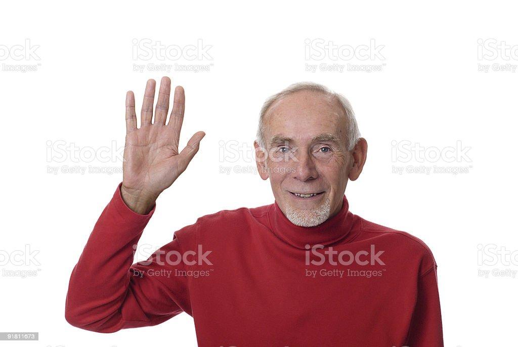 Old man waving happily royalty-free stock photo