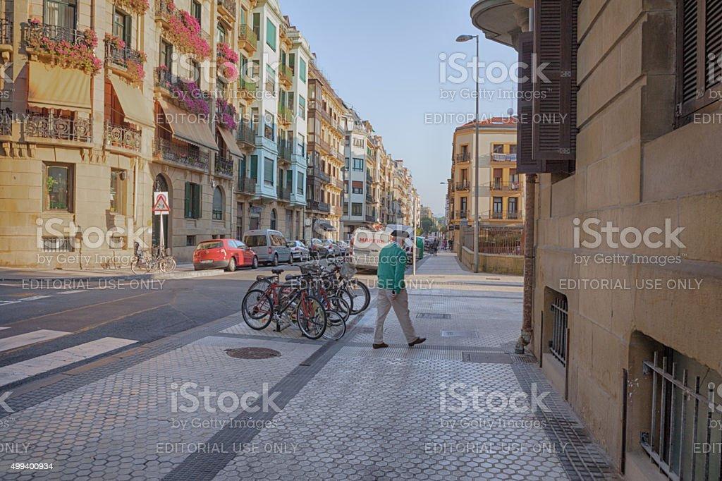 Old man wearing Basque beret. San Sebastian stock photo