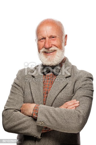 istock Old man with a big beard and a smile 501025017