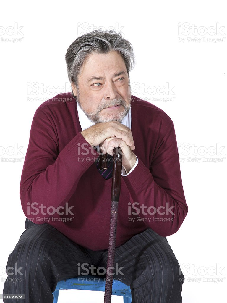 Old man with a cane stock photo