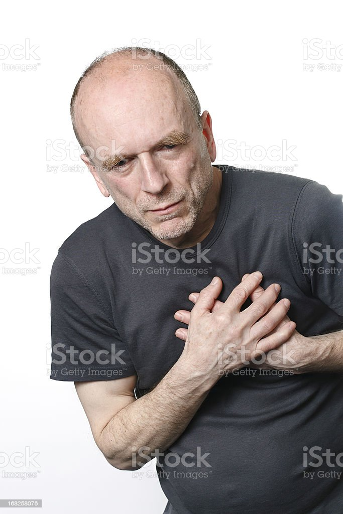 Old man with a heart attack royalty-free stock photo