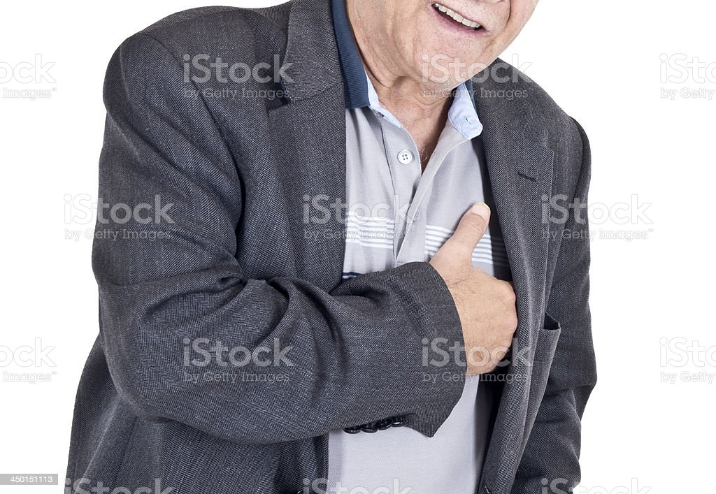 Old man with a heart attack stock photo