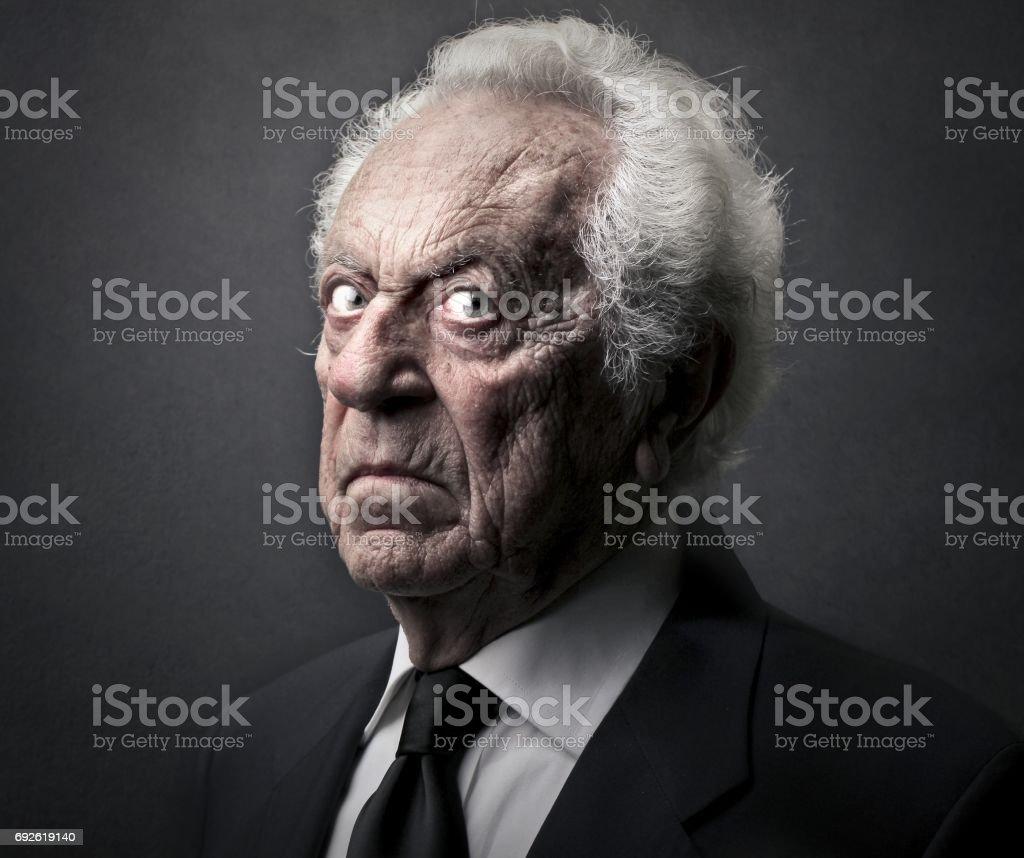Alter Mann mit einem bösen Blick - Lizenzfrei Alt Stock-Foto