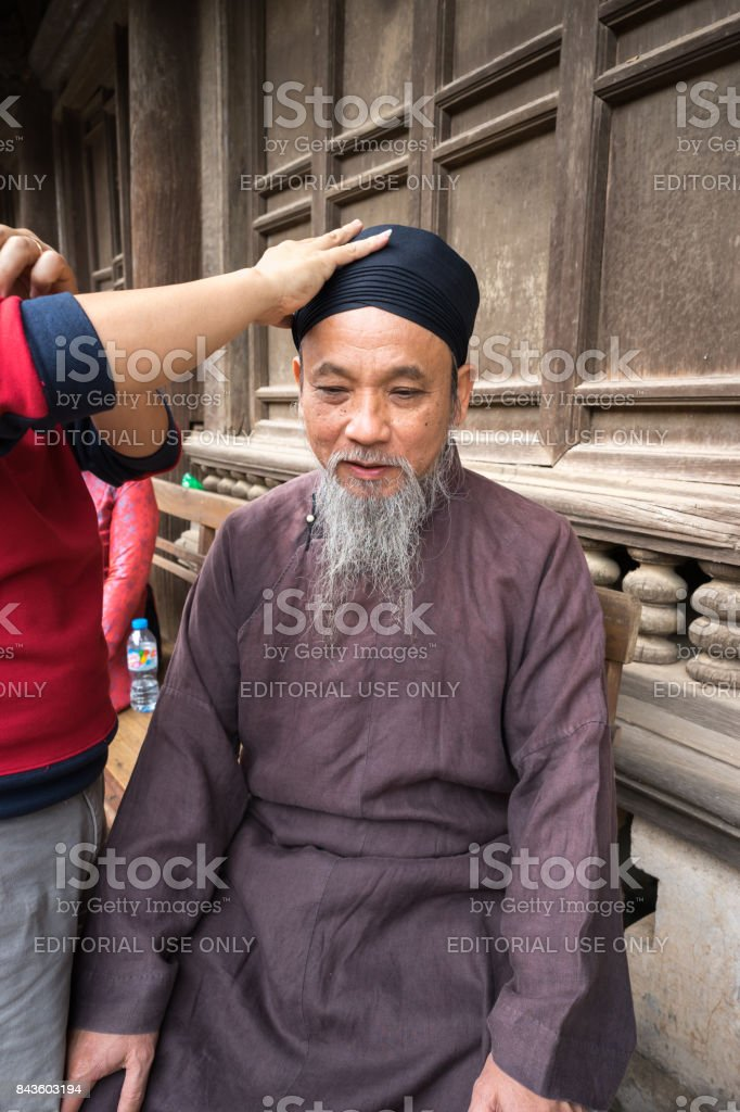 Old man with ancient feudal dress stock photo