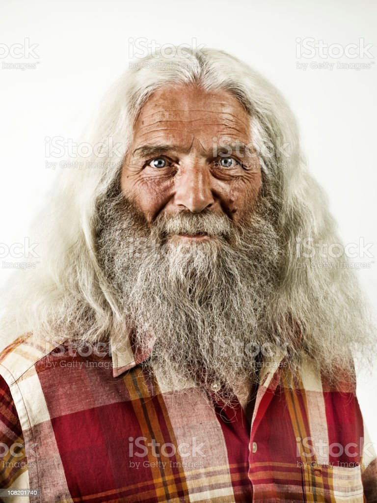 old man with beard & long white hair stock photo