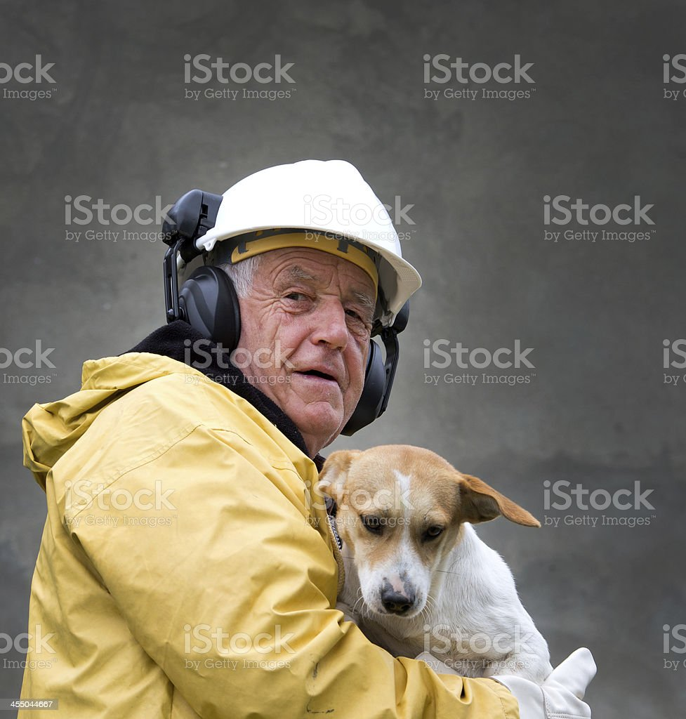 Old man with dog stock photo