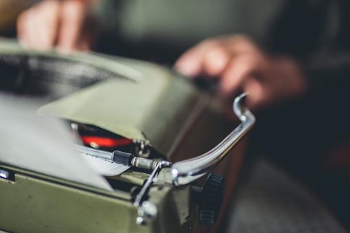 Old man with his typewriter